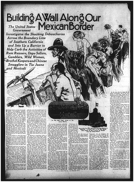 Cartoon from California newspaper, depicting perceived vice on the U.S.-Mexico border, around 1924