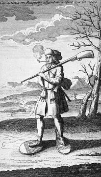 French woodsman, or coureur de bois, wearing snowshoes