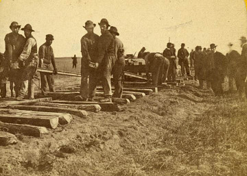 Detail from stereo view of laying track, Nebraska Territory, 1866