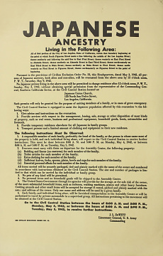Reproduction of Civilian Exclusion Order Instruction Poster, 1942