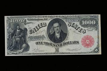 DeWitt Clinton on thousand-dollar bill, 1880