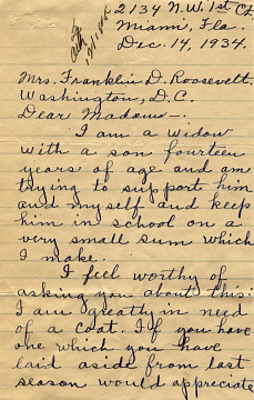 Letter to First Lady Eleanor Roosevelt begging for help, 1934