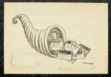 "Original drawing, ""Credit Card Cornucopia,"" by Frank Modell, about 1964"