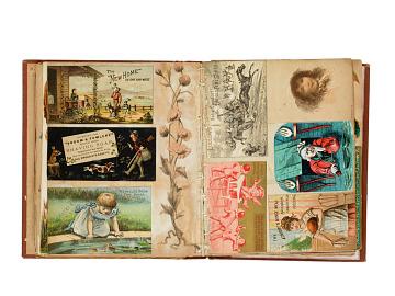 Scrapbook of patent medicine trade cards, 1870s–1900