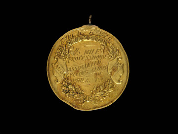 Reverse of bicycle racing medal, 1883-1897