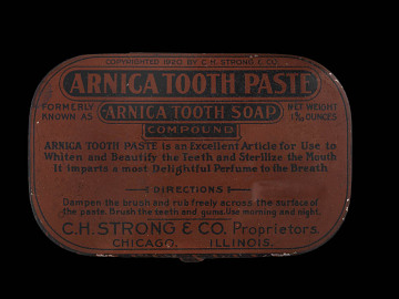 Arnica Tooth Paste, 1920s. The containter reads: