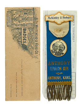 Whitehead & Hoag badge with envelope, 1896