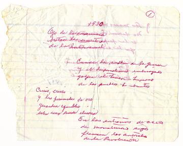 Draft of poem written by Luisa Moreno.