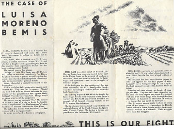 Pamphlet to rally national attention and halt Luisa Moreno's deportation, around 1949