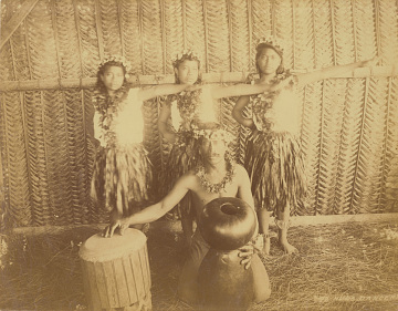 Hula dancers with pahu drum, 1880–1890