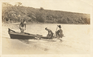 Outrigger canoe on Kauai Island, early 1900s