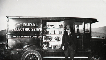 Salesman in Hood River, Oregon, 1926. Courtesy of Pacific Power Corp.