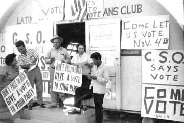 Photograph of a 1950s California voter registration drive