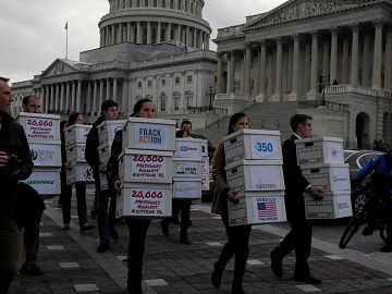 Environmental organizations delivering written petitions to Congress opposing the Keystone Pipeline, February 14, 2012