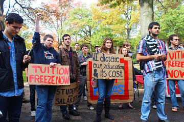 Tuition protest, American University, Washington, D.C, 2013
