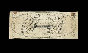 Counterfeit bill by Burroughs, Union Bank, Boston, Massachusetts, 1807