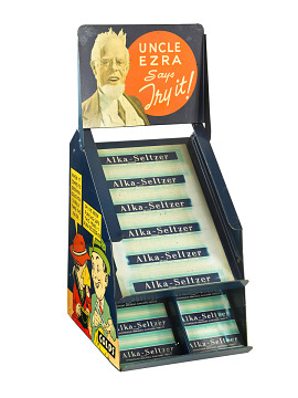 Alka-Seltzer counter display, with radio star Uncle Ezra, about 1930