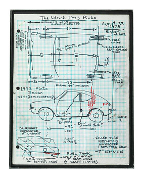 Bloch's drawing of the Ford Pinto, showing the design flaw that endangered drivers, 1978