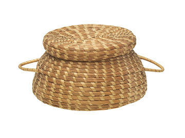 Coiled sweetgrass basket, South Carolina, mid-1800