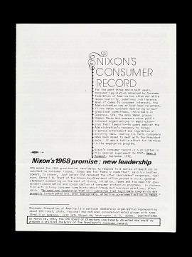 """""""Nixon's Consumer Record,"""" 1972"""