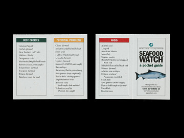 Seafood Watch pocket guide, about 1999