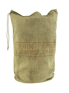 Homespun sack, mid-1800s