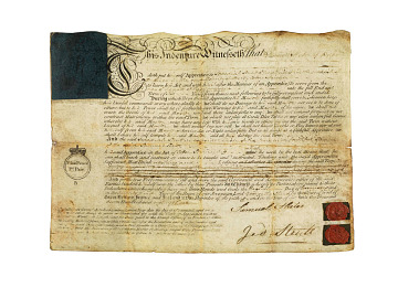 Samuel Slater's indenture in an English mill, 1783