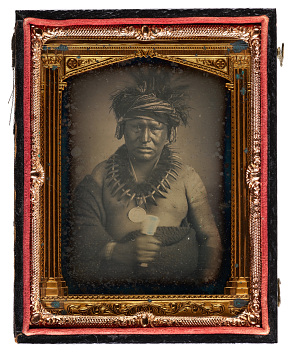 Original and reproduction daguerreotypes of Native American delegates, by Thomas Easterly, around 1852