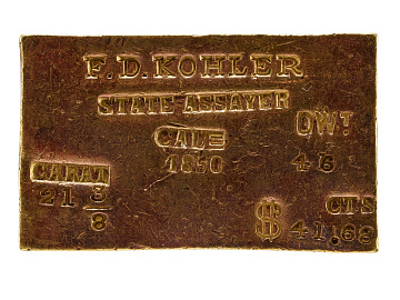 Gold rush assayers' ingot, 1850