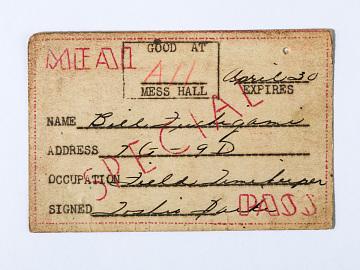 Incarceration camp ID tag, around 1942
