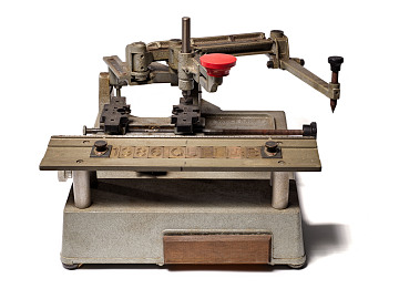 Lillian Vernon's monogramming machine, about 1951
