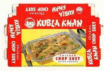 Kubla Khan Chop Suey frozen meal, early 1960s