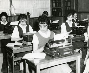 High School Typing Class, Pine Ridge Indian Reservation, South Dakota, around 1950