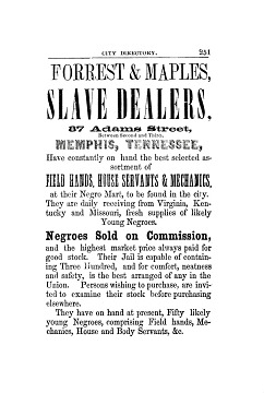 Forrest and Maples slave listing, Memphis City Directory, 1855–1856