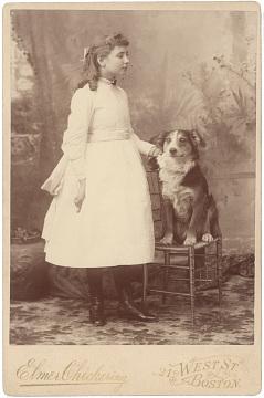 Helen Keller with Belle, around 1890