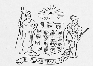 Conceptual drawing of a seal, around 1776