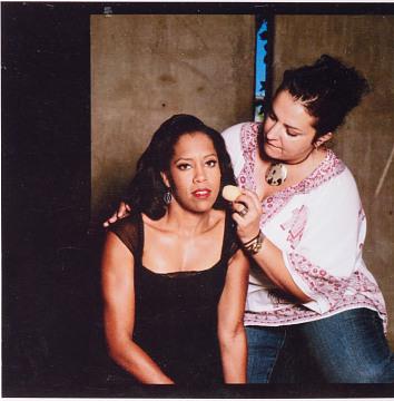 Rea Ann Silva with actor Regina King, 2000
