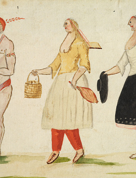 Canadian woman in moccasins, Native-style leggings, European skirt, and bodice. Artist unknown, Genre Studies of Habitants and Indians, around 1780