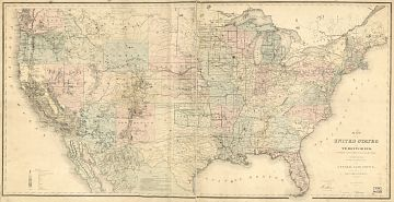 Map of the United States and territories, 1868