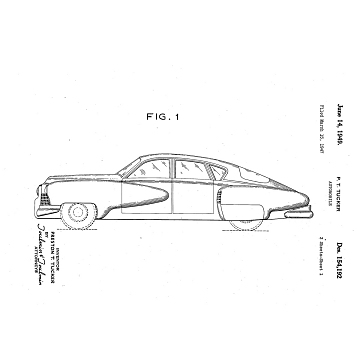 Tucker design patent, filed March 15, 1947