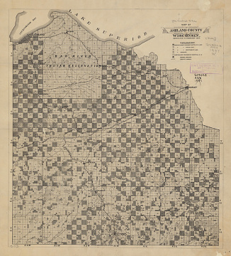 Map of Anishinaabe, Ojibwe Reservation, Wisconsin, 1887