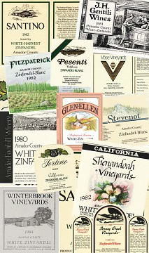 Collage of White Zin labels, 1980s-90s
