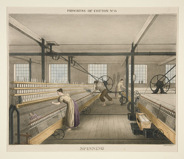 Illustration of workers spinning cotton, 1840
