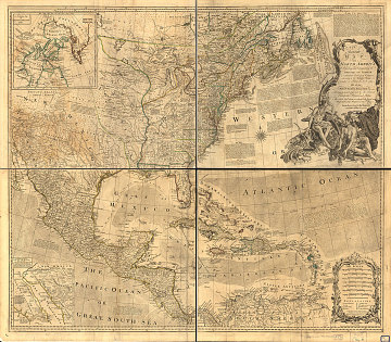 A map of North America that identifies British and Spanish claims on the continent, 1765
