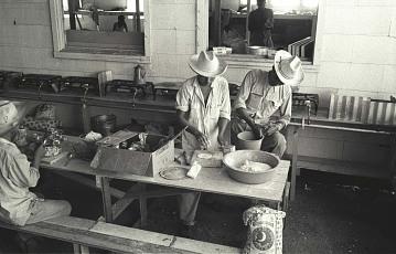 Braceros making tortillas, 1957