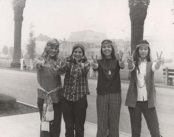 Four sorority members in Hippie attire at Pepperdine College, 1970