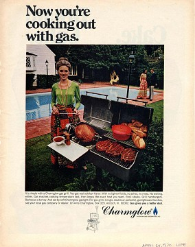 Charmglow gas grill ad, 1970