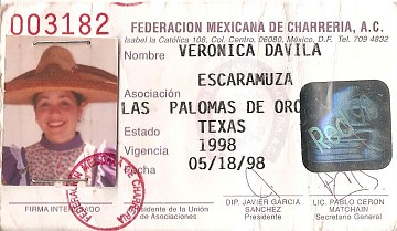 Verónica Dávila's Mexican Federation of Charrería registration card, 1998