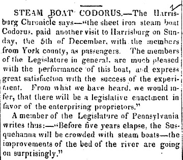 Newspaper clipping from Louisville Public Advertiser, December 31, 1825