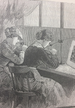 "Students learning wood engraving from ""The Monument of a Philanthropist: The Cooper Union and its School of Art,"" Frank Leslie's Illustrated Newspaper, 1883"